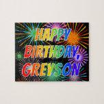 "[ Thumbnail: First Name ""Greyson"", Fun ""Happy Birthday"" Jigsaw Puzzle ]"