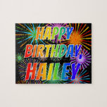 "[ Thumbnail: First Name ""Hailey"", Fun ""Happy Birthday"" Jigsaw Puzzle ]"