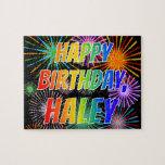 "[ Thumbnail: First Name ""Haley"", Fun ""Happy Birthday"" Jigsaw Puzzle ]"