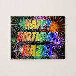 "[ Thumbnail: First Name ""Hazel"", Fun ""Happy Birthday"" Jigsaw Puzzle ]"