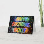 "[ Thumbnail: First Name ""Holly"" Fun ""Happy Birthday"" Card ]"