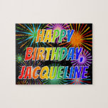 """[ Thumbnail: First Name """"Jacqueline"""", Fun """"Happy Birthday"""" Jigsaw Puzzle ]"""