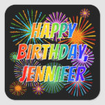 "[ Thumbnail: First Name ""Jennifer"", Fun ""Happy Birthday"" Sticker ]"