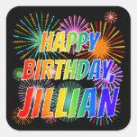 "[ Thumbnail: First Name ""Jillian"", Fun ""Happy Birthday"" Sticker ]"
