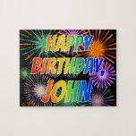 "[ Thumbnail: First Name ""John"", Fun ""Happy Birthday"" Jigsaw Puzzle ]"