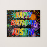 "[ Thumbnail: First Name ""Justin"", Fun ""Happy Birthday"" Jigsaw Puzzle ]"