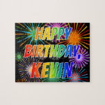 """[ Thumbnail: First Name """"Kevin"""", Fun """"Happy Birthday"""" Jigsaw Puzzle ]"""