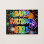 "[ Thumbnail: First Name ""Kyle"", Fun ""Happy Birthday"" Jigsaw Puzzle ]"
