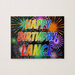"[ Thumbnail: First Name ""Lance"", Fun ""Happy Birthday"" Jigsaw Puzzle ]"