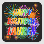 "[ Thumbnail: First Name ""Lauren"", Fun ""Happy Birthday"" Sticker ]"
