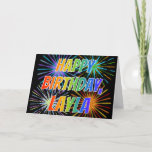 "[ Thumbnail: First Name ""Layla"" Fun ""Happy Birthday"" Card ]"