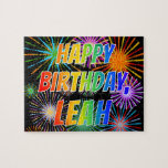 "[ Thumbnail: First Name ""Leah"", Fun ""Happy Birthday"" Jigsaw Puzzle ]"