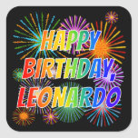 "[ Thumbnail: First Name ""Leonardo"", Fun ""Happy Birthday"" Sticker ]"