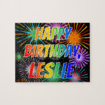 "[ Thumbnail: First Name ""Leslie"", Fun ""Happy Birthday"" Jigsaw Puzzle ]"