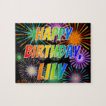 """[ Thumbnail: First Name """"Lily"""", Fun """"Happy Birthday"""" Jigsaw Puzzle ]"""