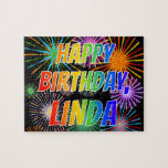 "[ Thumbnail: First Name ""Linda"", Fun ""Happy Birthday"" Jigsaw Puzzle ]"