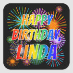 "[ Thumbnail: First Name ""Linda"", Fun ""Happy Birthday"" Sticker ]"
