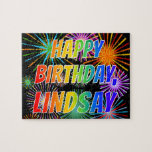 "[ Thumbnail: First Name ""Lindsay"", Fun ""Happy Birthday"" Jigsaw Puzzle ]"