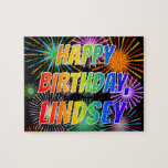 "[ Thumbnail: First Name ""Lindsey"", Fun ""Happy Birthday"" Jigsaw Puzzle ]"