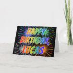 "[ Thumbnail: First Name ""Lucas"" Fun ""Happy Birthday"" Card ]"