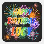 "[ Thumbnail: First Name ""Lucy"", Fun ""Happy Birthday"" Sticker ]"