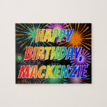 "[ Thumbnail: First Name ""Mackenzie"", Fun ""Happy Birthday"" Jigsaw Puzzle ]"