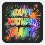 "[ Thumbnail: First Name ""Mary"", Fun ""Happy Birthday"" Sticker ]"