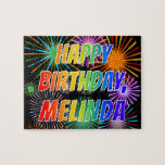 "[ Thumbnail: First Name ""Melinda"", Fun ""Happy Birthday"" Jigsaw Puzzle ]"