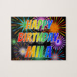 "[ Thumbnail: First Name ""Mila"", Fun ""Happy Birthday"" Jigsaw Puzzle ]"