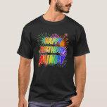 "[ Thumbnail: First Name ""Mindy"", Fun ""Happy Birthday"" T-Shirt ]"