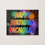 "[ Thumbnail: First Name ""Nicholas"", Fun ""Happy Birthday"" Jigsaw Puzzle ]"