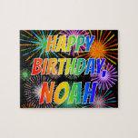 "[ Thumbnail: First Name ""Noah"", Fun ""Happy Birthday"" Jigsaw Puzzle ]"