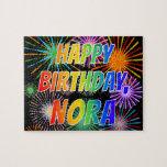 "[ Thumbnail: First Name ""Nora"", Fun ""Happy Birthday"" Jigsaw Puzzle ]"