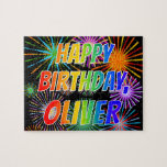 """[ Thumbnail: First Name """"Oliver"""", Fun """"Happy Birthday"""" Jigsaw Puzzle ]"""