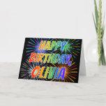 "[ Thumbnail: First Name ""Olivia"" Fun ""Happy Birthday"" Card ]"