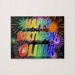 "[ Thumbnail: First Name ""Olivia"", Fun ""Happy Birthday"" Jigsaw Puzzle ]"