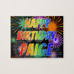 """[ Thumbnail: First Name """"Paige"""", Fun """"Happy Birthday"""" Jigsaw Puzzle ]"""