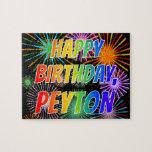 """[ Thumbnail: First Name """"Peyton"""", Fun """"Happy Birthday"""" Jigsaw Puzzle ]"""