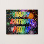 "[ Thumbnail: First Name ""Philip"", Fun ""Happy Birthday"" Jigsaw Puzzle ]"