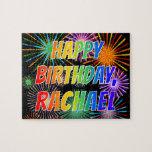 "[ Thumbnail: First Name ""Rachael"", Fun ""Happy Birthday"" Jigsaw Puzzle ]"