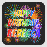 "[ Thumbnail: First Name ""Rebecca"", Fun ""Happy Birthday"" Sticker ]"