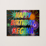"[ Thumbnail: First Name ""Regina"", Fun ""Happy Birthday"" Jigsaw Puzzle ]"