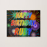 "[ Thumbnail: First Name ""Ruby"", Fun ""Happy Birthday"" Jigsaw Puzzle ]"