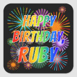 "[ Thumbnail: First Name ""Ruby"", Fun ""Happy Birthday"" Sticker ]"