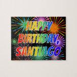 "[ Thumbnail: First Name ""Santiago"", Fun ""Happy Birthday"" Jigsaw Puzzle ]"