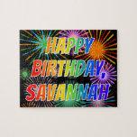 "[ Thumbnail: First Name ""Savannah"", Fun ""Happy Birthday"" Jigsaw Puzzle ]"