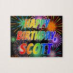 "[ Thumbnail: First Name ""Scott"", Fun ""Happy Birthday"" Jigsaw Puzzle ]"