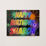 "[ Thumbnail: First Name ""Sharon"", Fun ""Happy Birthday"" Jigsaw Puzzle ]"