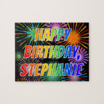 "[ Thumbnail: First Name ""Stephanie"", Fun ""Happy Birthday"" Jigsaw Puzzle ]"
