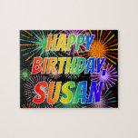 "[ Thumbnail: First Name ""Susan"", Fun ""Happy Birthday"" Jigsaw Puzzle ]"